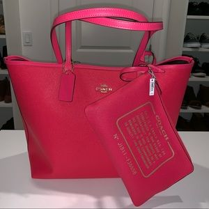 Neon Pink Reversible Coach tote NWT